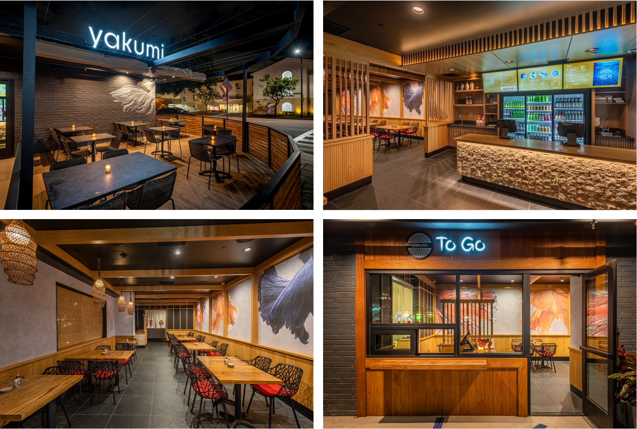 Yakumi Outside Area, To Go Area, Dine-in Area, Order Counter